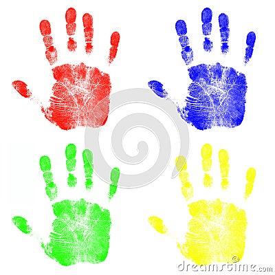 Free Children S Hand Prints Stock Photos - 4231323