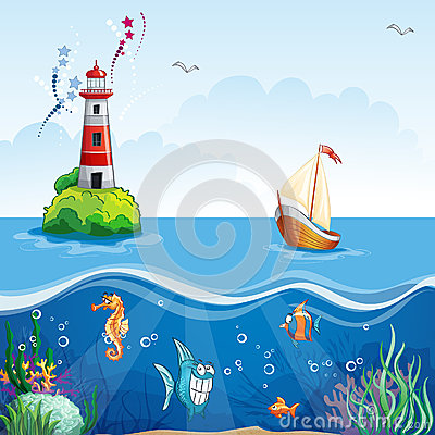 Children s illustration with lighthouse and sailboat. On the sea floor, and funny fish