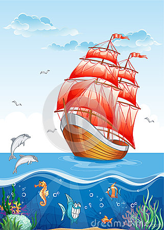 Children s illustration of a sailboat with red sails and the underwater world