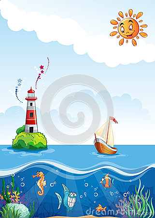 Children s illustration of sea with lighthouse, sailing and fun fish