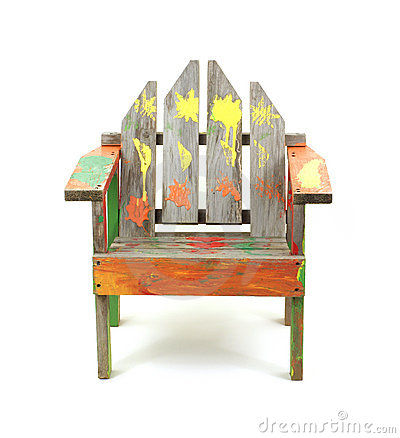 Children s old painted lawn chair