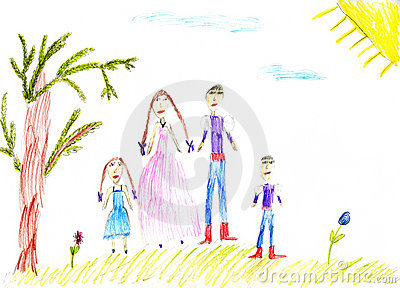Children s paint family in summer nature