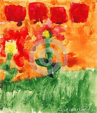 Children s paint flowers