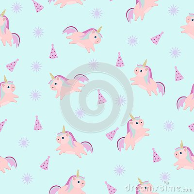 Children`s pattern for textiles with a unicorn rainbow Vector Illustration