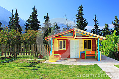 Children s play house in a yard