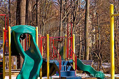 Children s Playground in Winter