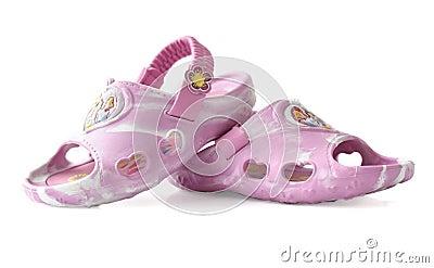 Children s sandals on a white background