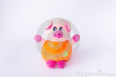 Children`s soft toy pig, cute pig on a white background Stock Photo