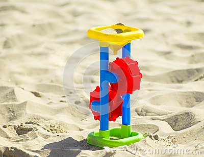 Children`s toy on the sand