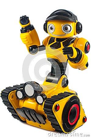 Free Children S Toys - Yellow Robot On Caterpillar Wheels Stock Photography - 58217192