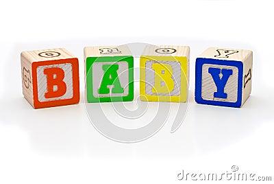 Children s wood blocks spelling the word baby over