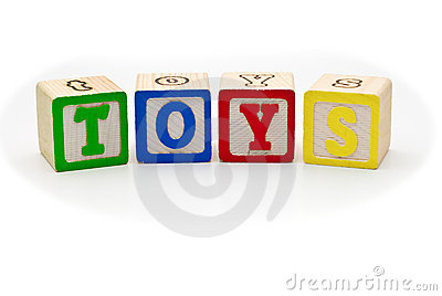 Children s wood blocks spelling the word toys over