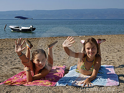 Children on sandy beach 1