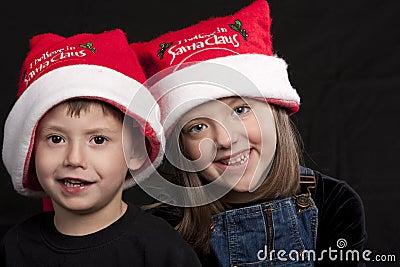 Children in Santa Claus hats