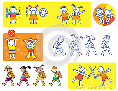 Children school icons