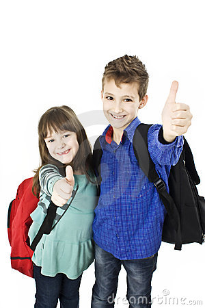 Children, schoolboy and schoolgirl showing OK sign