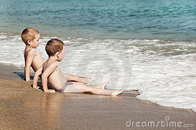 Children on sea beach