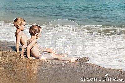 Children on sea beach