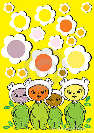 Diversity, Baby Children and Flowers- Cartoon