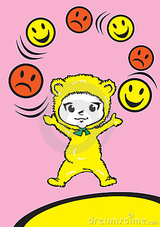 Child Baby with Emoticons, Cartoon