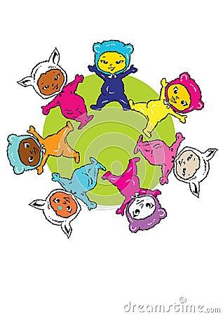 Circle Earth Mandala, Cartoon for Baby Children-Diversity