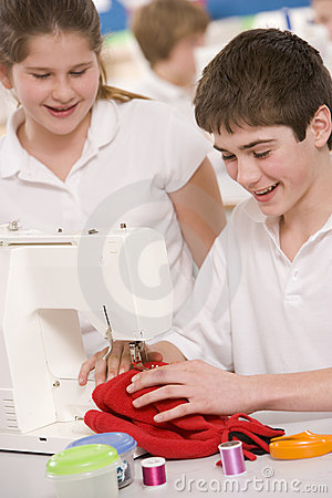 Children with sewing machine