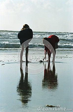 Children silhouette at beach