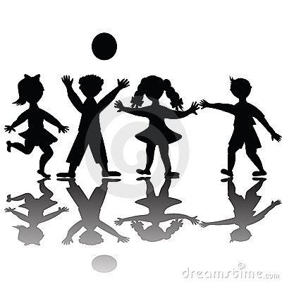 Children silhouette playing