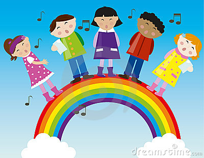 children singing on the rainbow vector