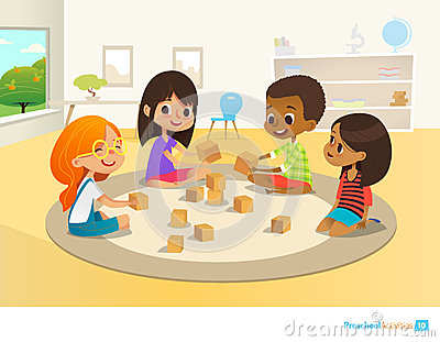 Children sit in circle on round carpet in kindergarten classroom, play with wooden toy blocks and laugh. Learning Vector Illustration