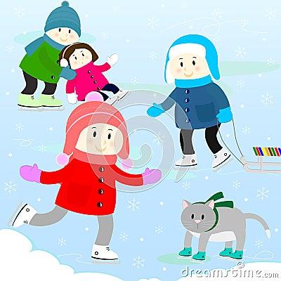 Children on a skating rink
