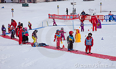 Children ski school Editorial Photo