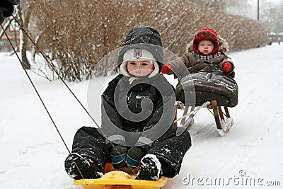 Children on sled