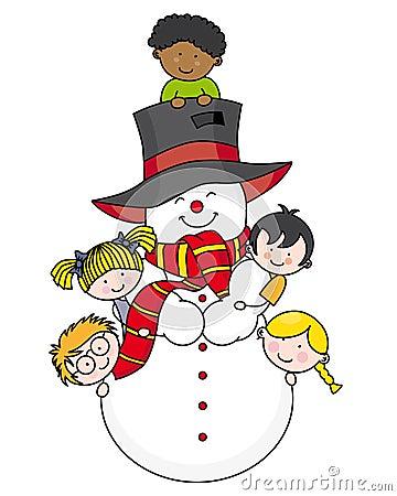 Children with a snowman
