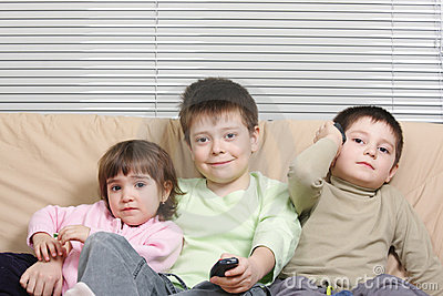 Children on sofa