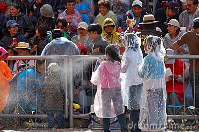 Children spraying foam Oruro Carnival 2/09 Editorial Image