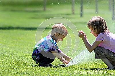 Children with Sprinkler