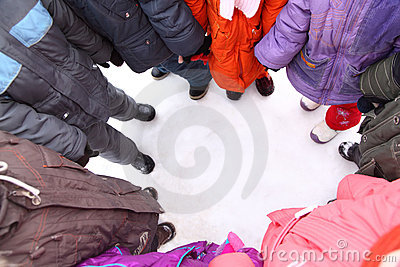Children stand around,  top view