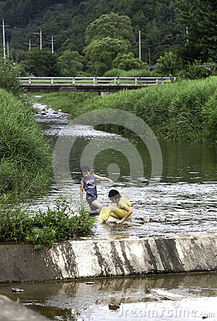 Children in the stream Editorial Photography