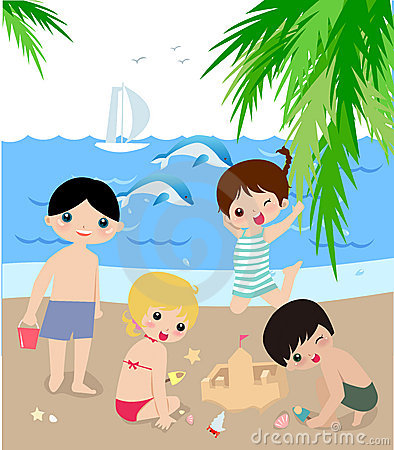 Children on the sunny beach.