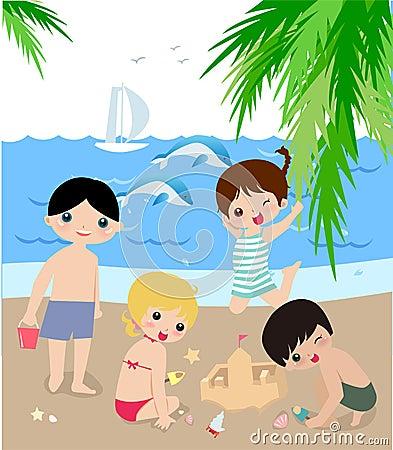 Children on the sunny beach.
