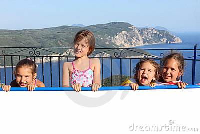 Children On The Sunny Terrace Stock Photography - Image: 21136932