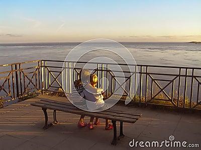 Children in sunset Editorial Photo