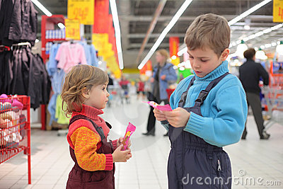 Children in supermarket
