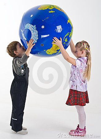 Children supporting the globe