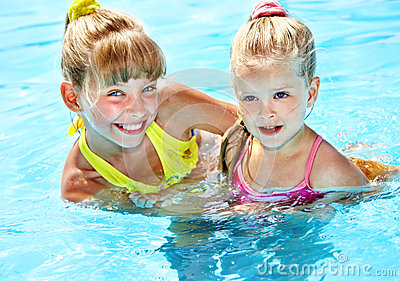 Children in swimming pool.