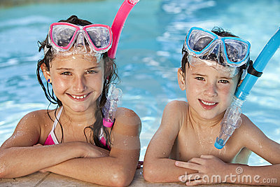 Children In Swimming Pool with Goggles & Snorkel