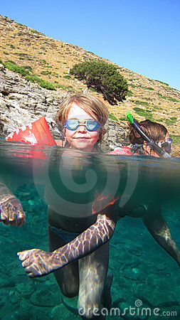 Children swimming in sea