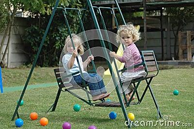 Children on swing