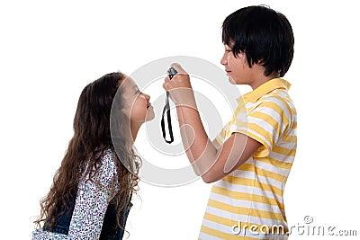 Children take photos digital